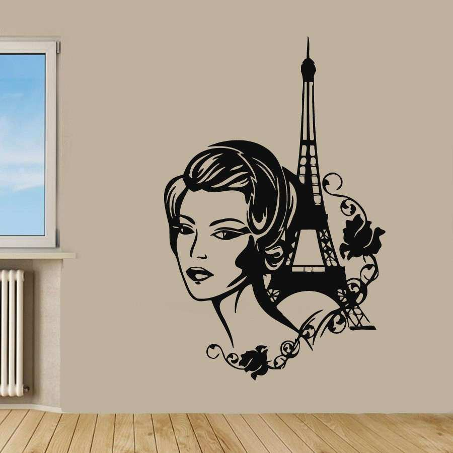 Paris Wall Decals Eiffel Tower Stickers Fashion Girl Beauty