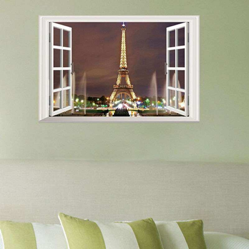 3D Window Paris Eiffel Tower Art Decal Wall Sticker Decor