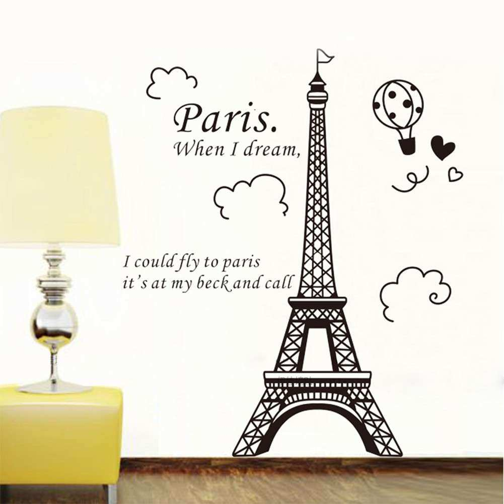 Elegant Paris Eiffel Tower Vinyl Lovely Wall Sticker