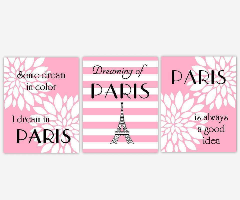 Paris Wall Art Pink Black White Eiffel Tower Flower Burst
