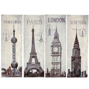 Vintage Style World City Black Wht Wall Art Canvas New