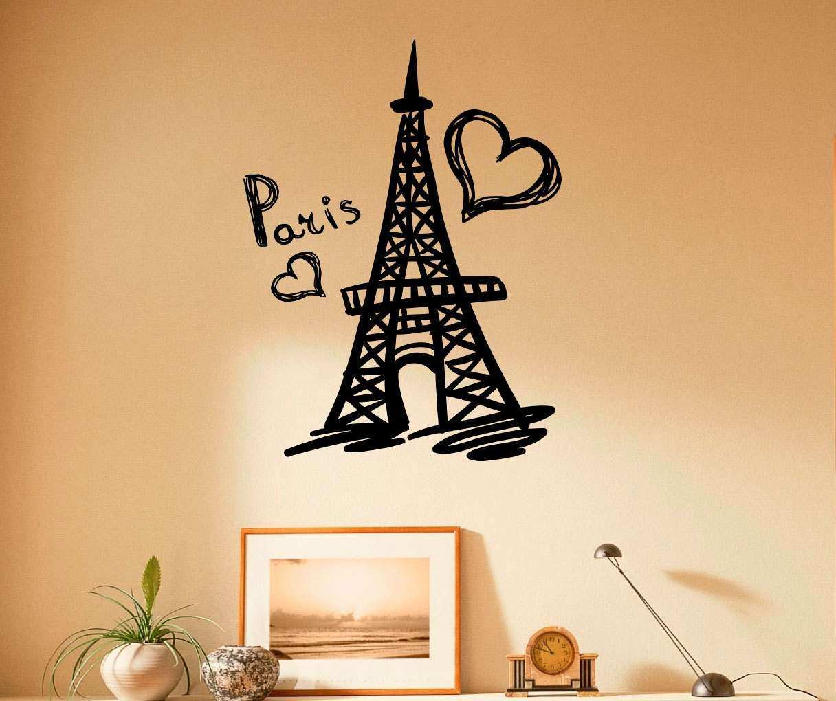 Paris Wall Decor Elegant Paris Eiffel tower Wall Decal Vinyl ...