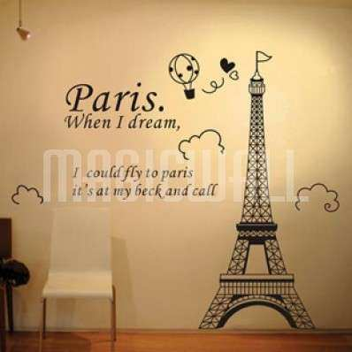 Paris Wall Decor Inspirational Wall Stickers Cartoon Eiffel Tower Dream Wall  Decals