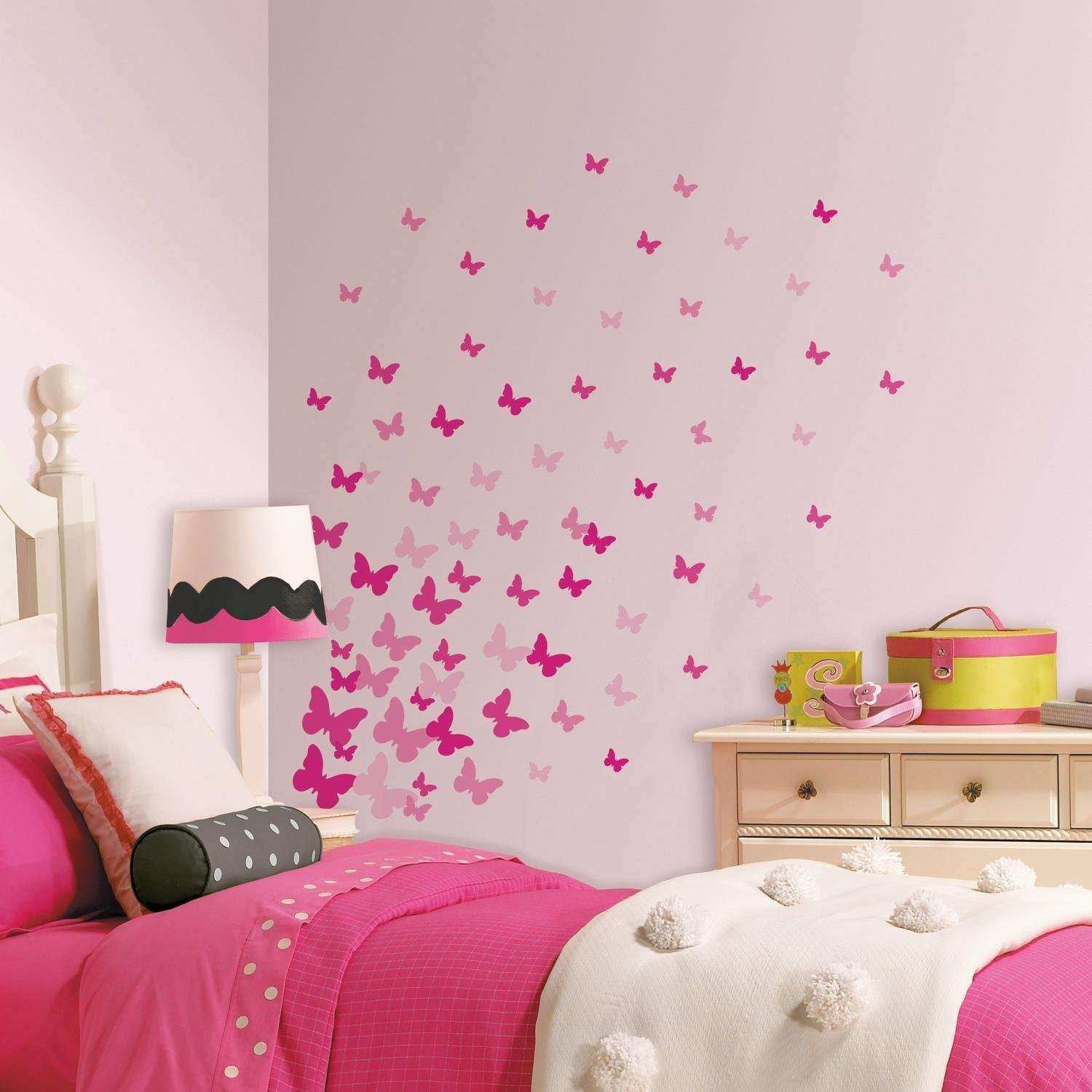 Amazon Roommates Rmk2713scs Pink Flutter Butterflies Peel And