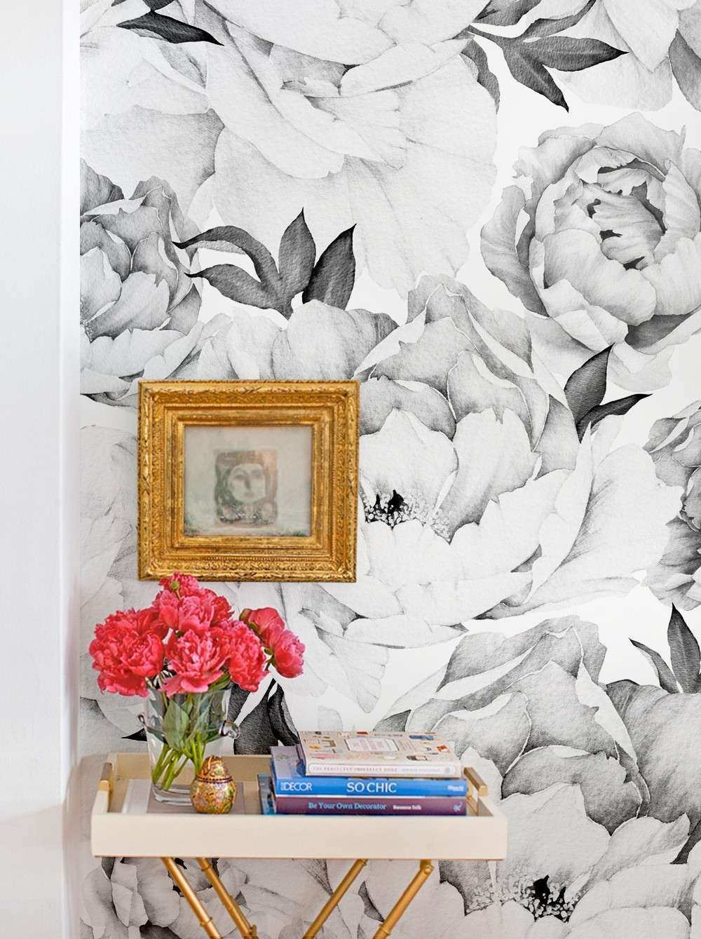 Peony Flower Mural Wall Art Wallpaper Pink Peel and Stick