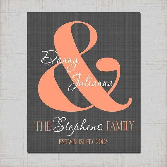 COUPLE Ampersand Last Name Wall Art Personalized PRINT or