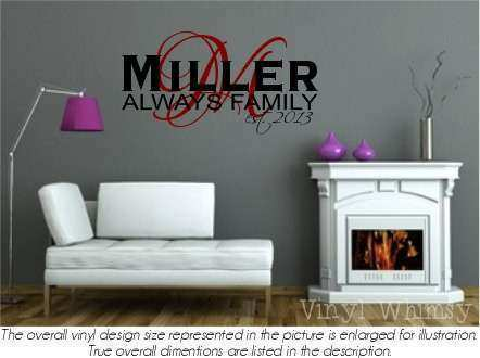 Vinyl Wall Art Personalized Name Last Name With Always