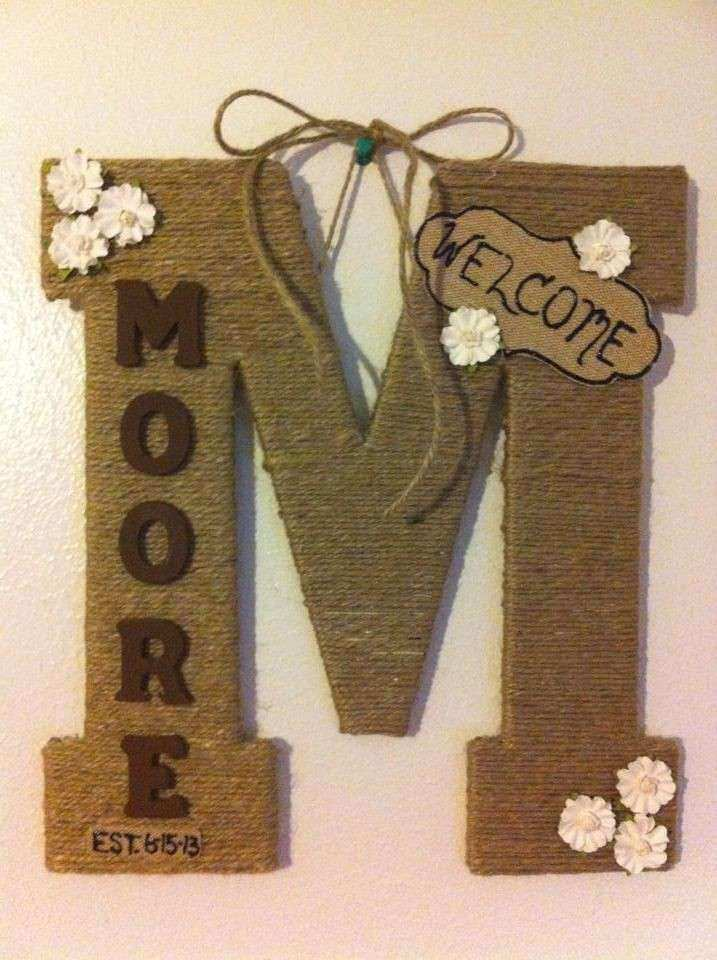 "13"" Monogram door letter last name twine wrapped $30"