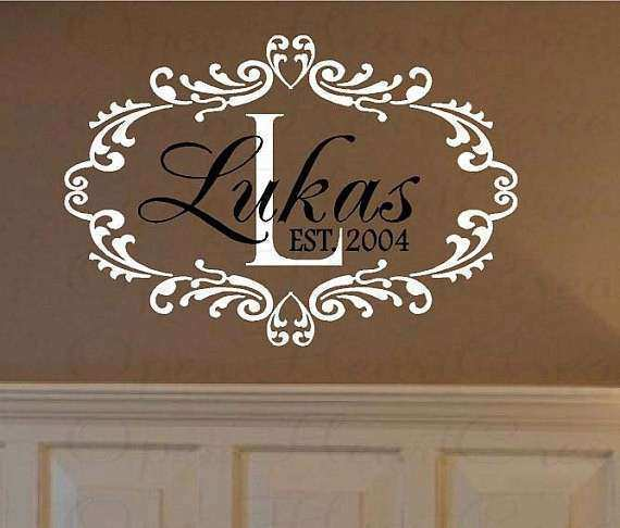 Family Name Vinyl Wall Decals Personalized Initial and Last