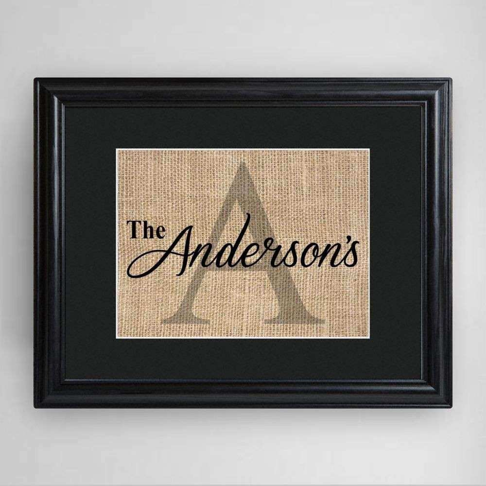 Family Name & Initial Personalized Framed Print Burlap