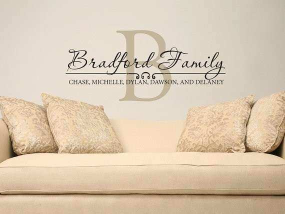 Personalized wall art with names elegant family name wall decal custom personalized name by