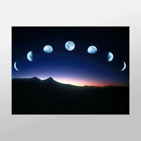 Moon Phases over Mountain Canvas Art Moon Wall Art by