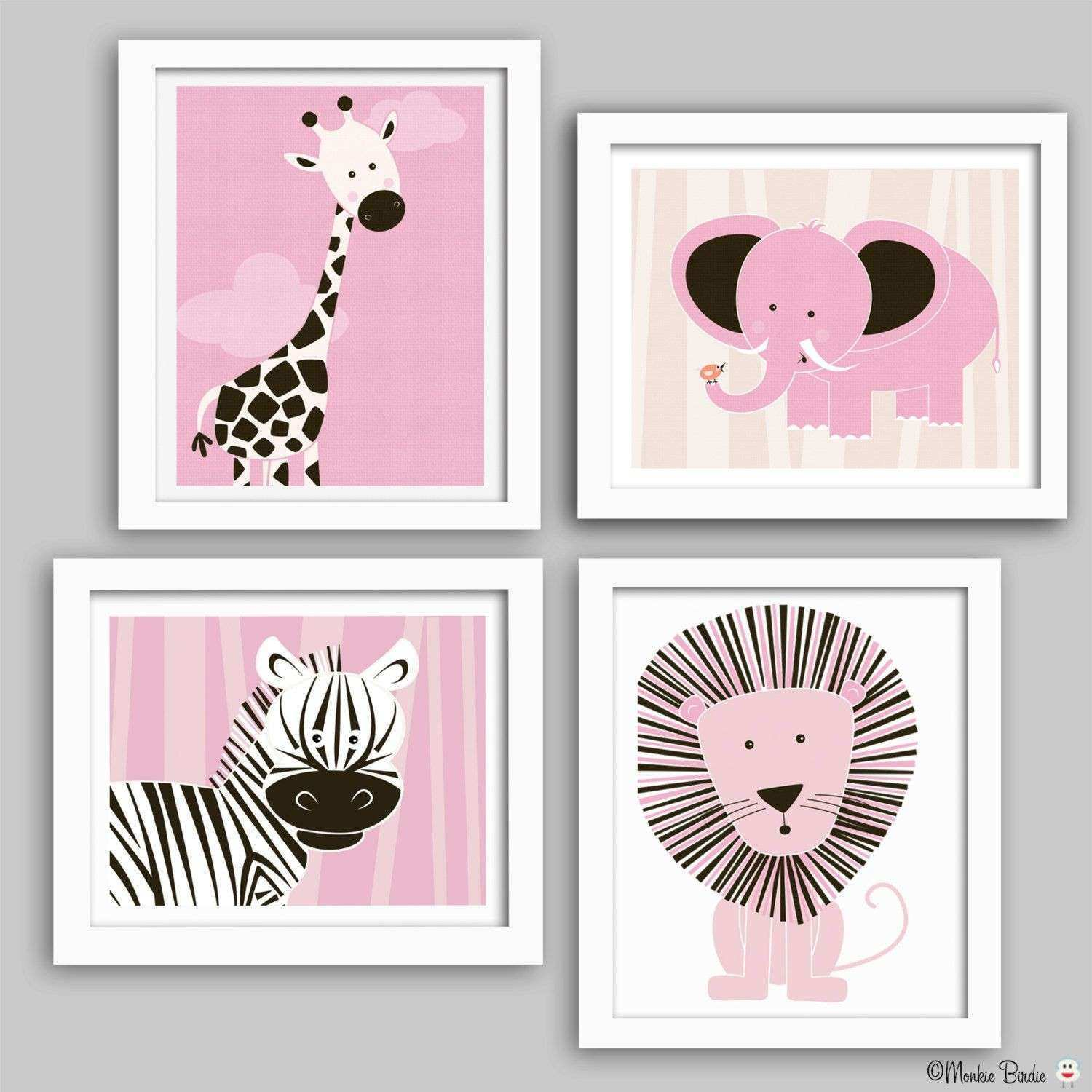 Nursery wall art baby nursery decor nursery print elephant lion
