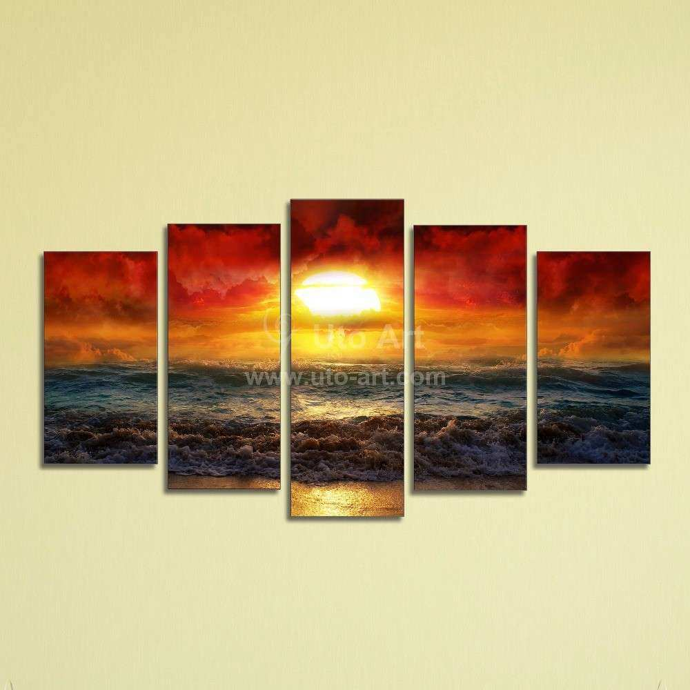 Photo Printing Wall Art Lovely 5 Panel Ocean Beach Decor Canvas ...