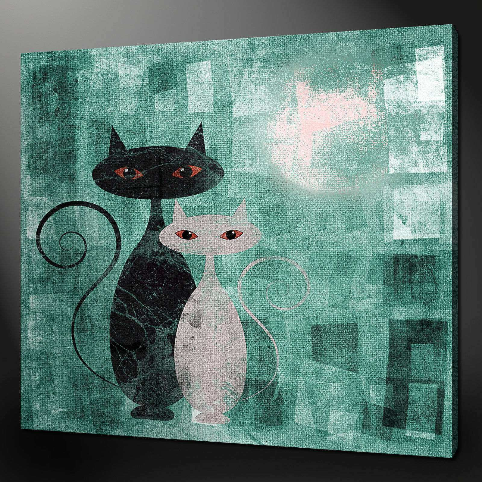 CATS ART DECO TEAL AQUA CANVAS WALL ART PICTURES PRINTS 24