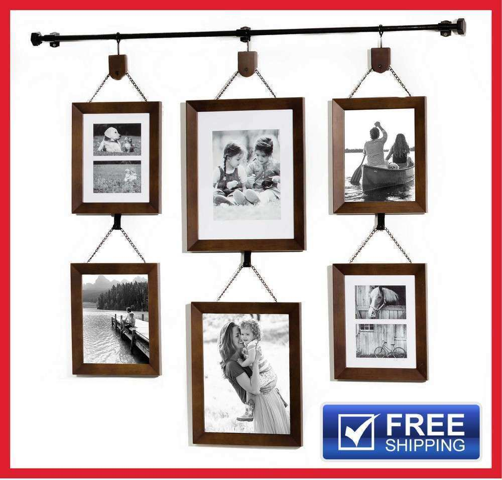 6 Piece Hanging Picture Frame Set Display Gallery