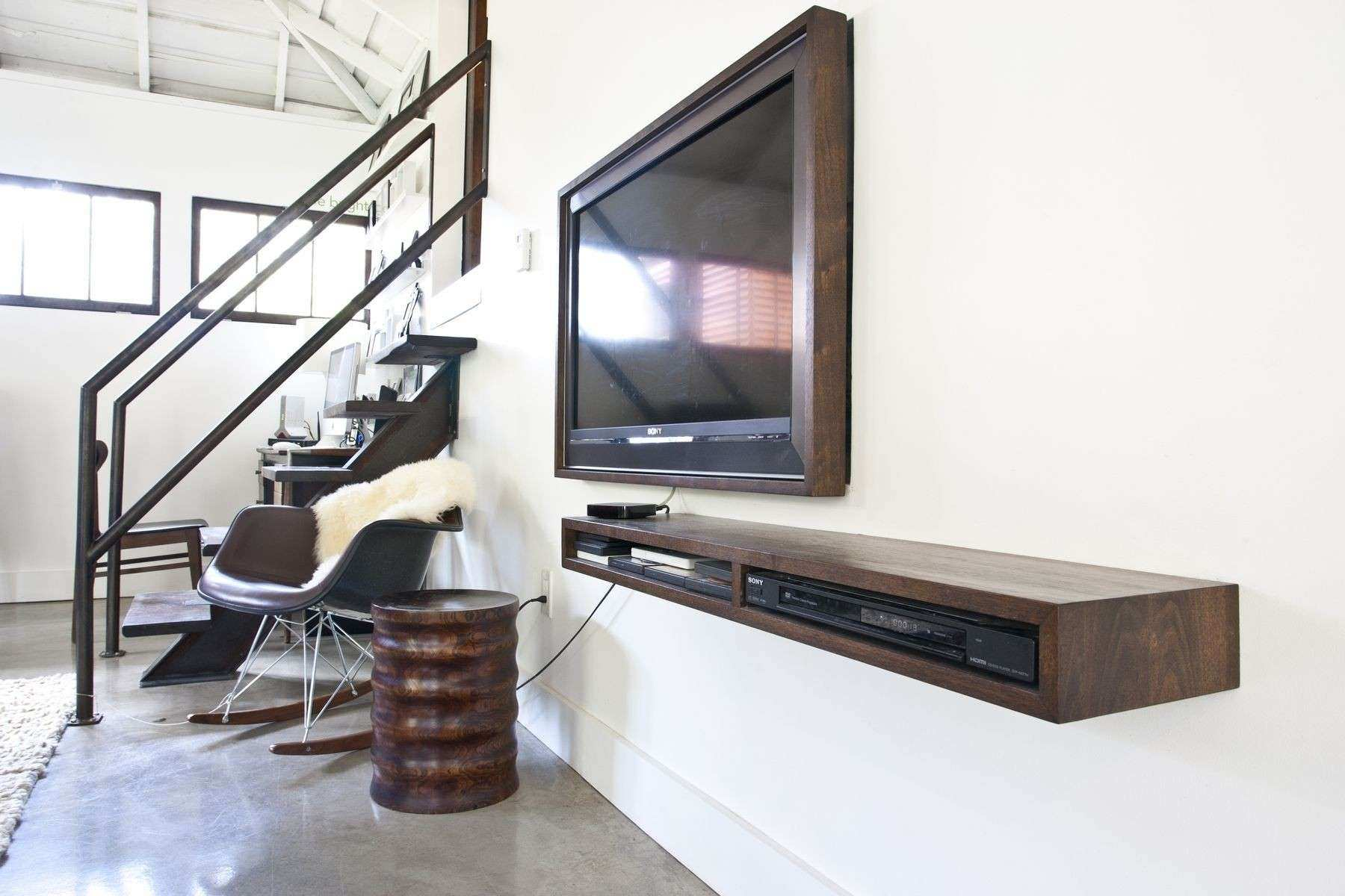 Rustic Brown Old Wooden Wall Mounted Floating Tv Console With Narrow