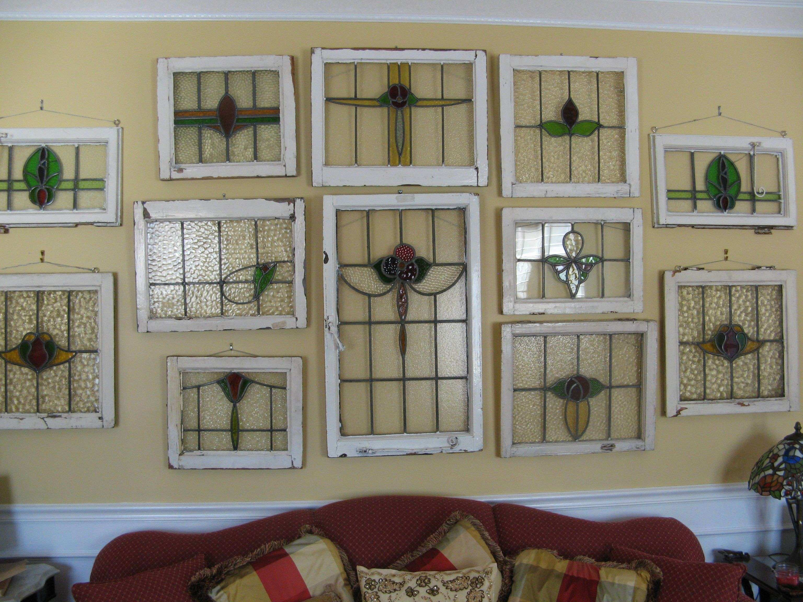 Living Room stained glass windows in a wall grouping