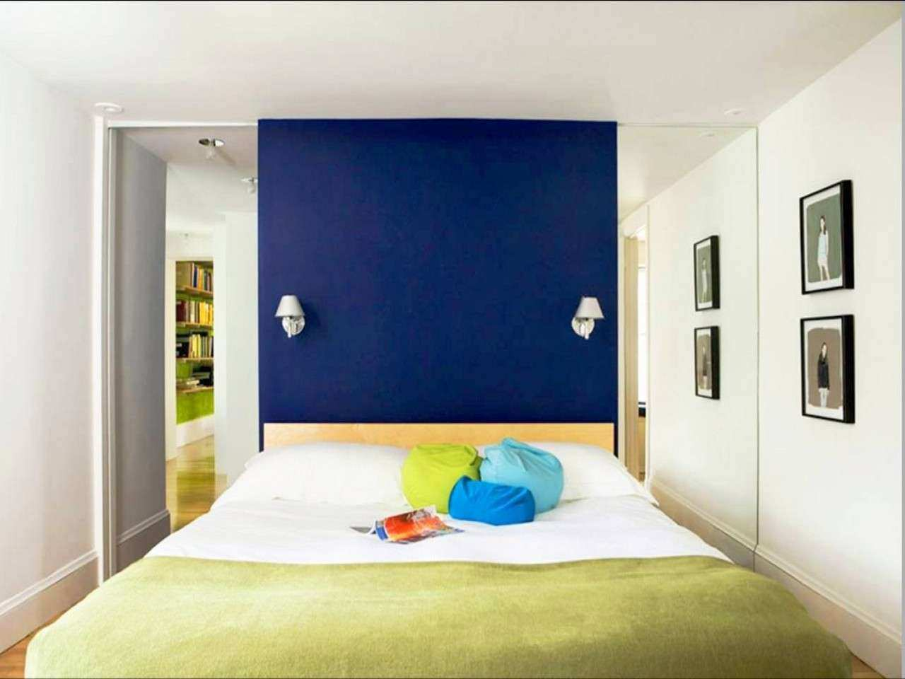 Picture Wall Ideas For Bedroom Inspirational Royal Blue Painted Bed Room Color