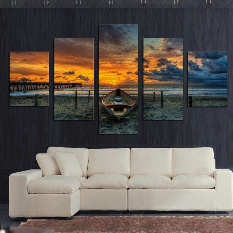 Aliexpress Buy No Frame 5 Panel Seascape And Boat