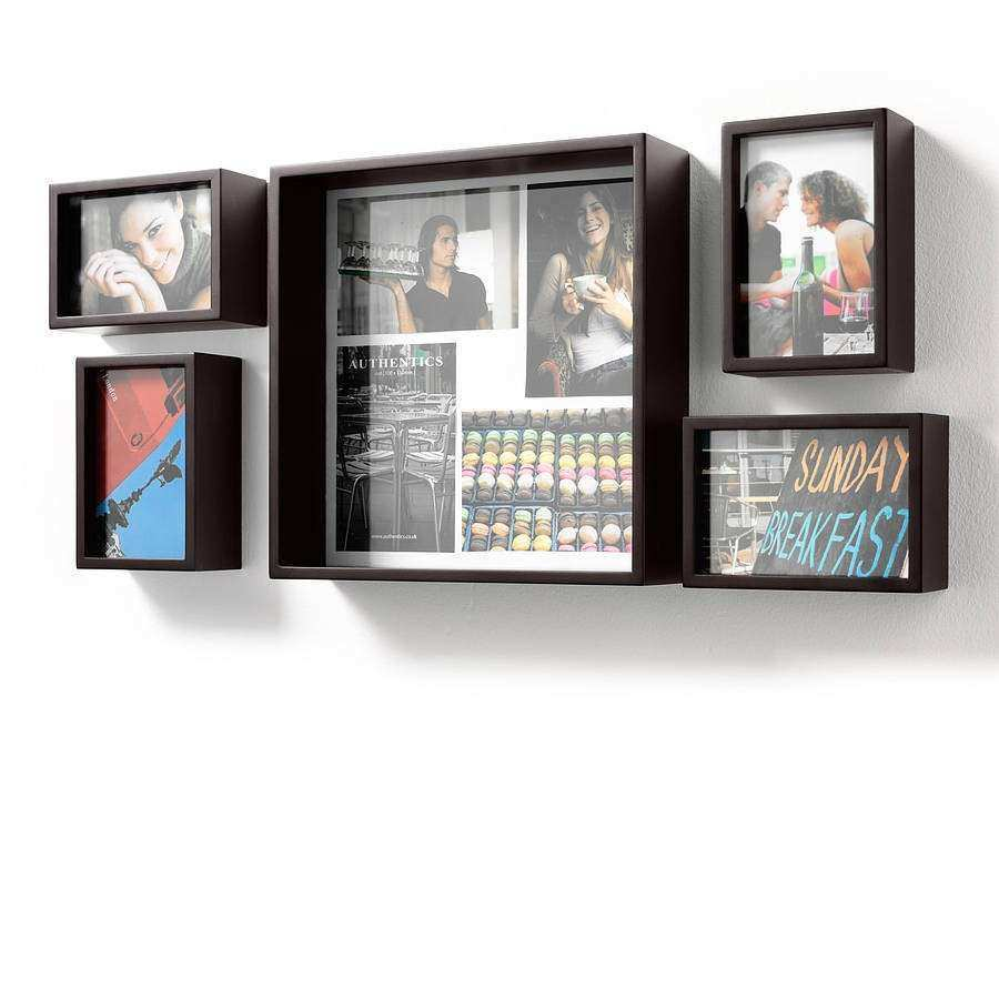 set of five wooden wall or table photo frames by