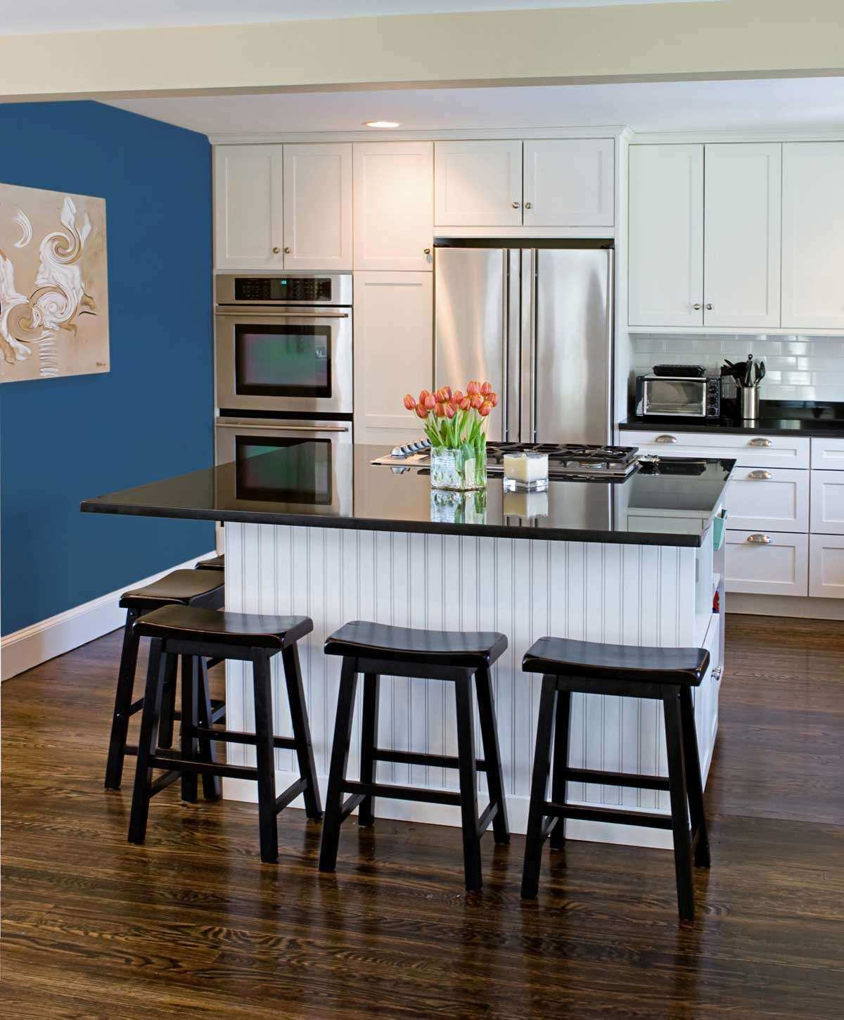 Blue kitchen Walls With White Cabinets 2016