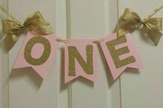 e First Birthday Pink Gold Banner Garland High Chair or