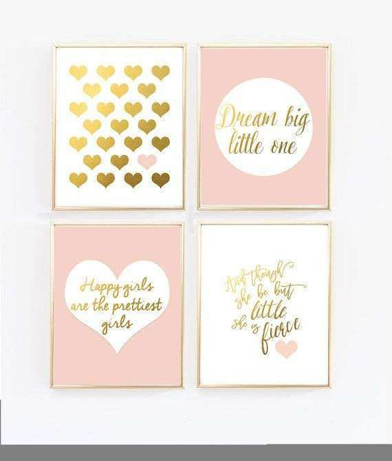 Pink Nursery Art Blush and Gold Prints And though she