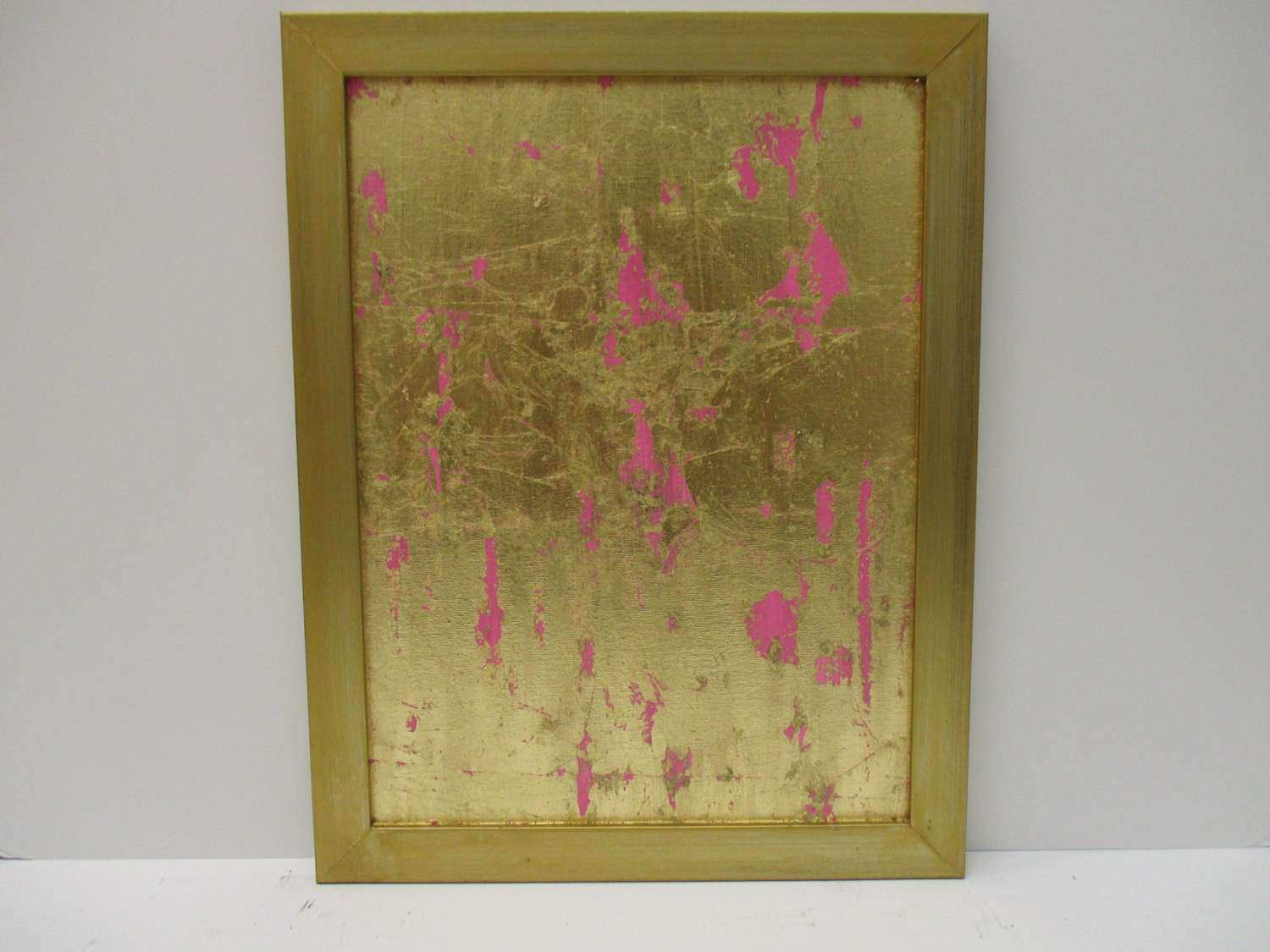 Gold Leaf Painting Pink Abstract Gold Wall Art by