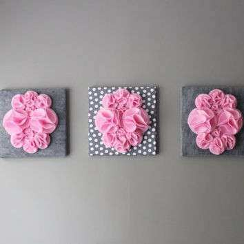 Three Wall Art Canvases Pink and Gray from Ten til Joy