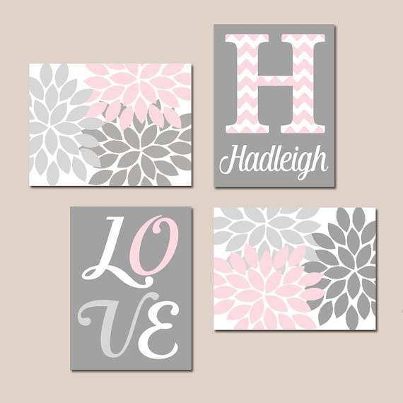 PINK GRAY Nursery Wall Decor Baby GIRL Wall Art Canvas or