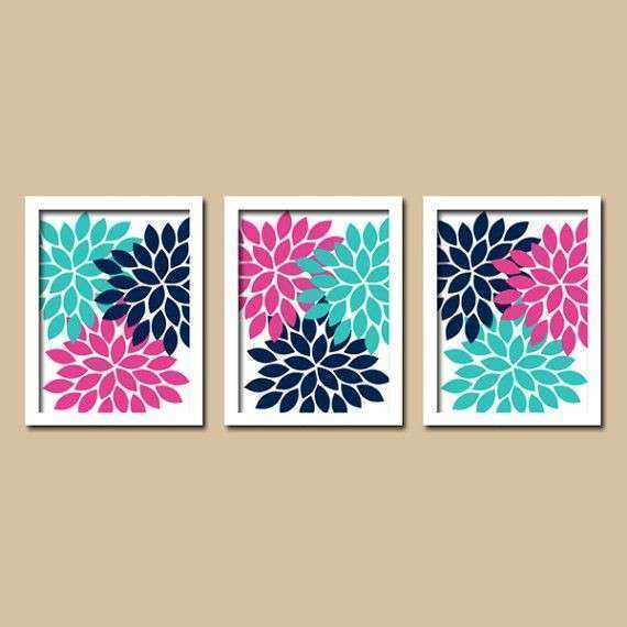 Flower Wall Art CANVAS or Prints Girl Nursery Turquoise