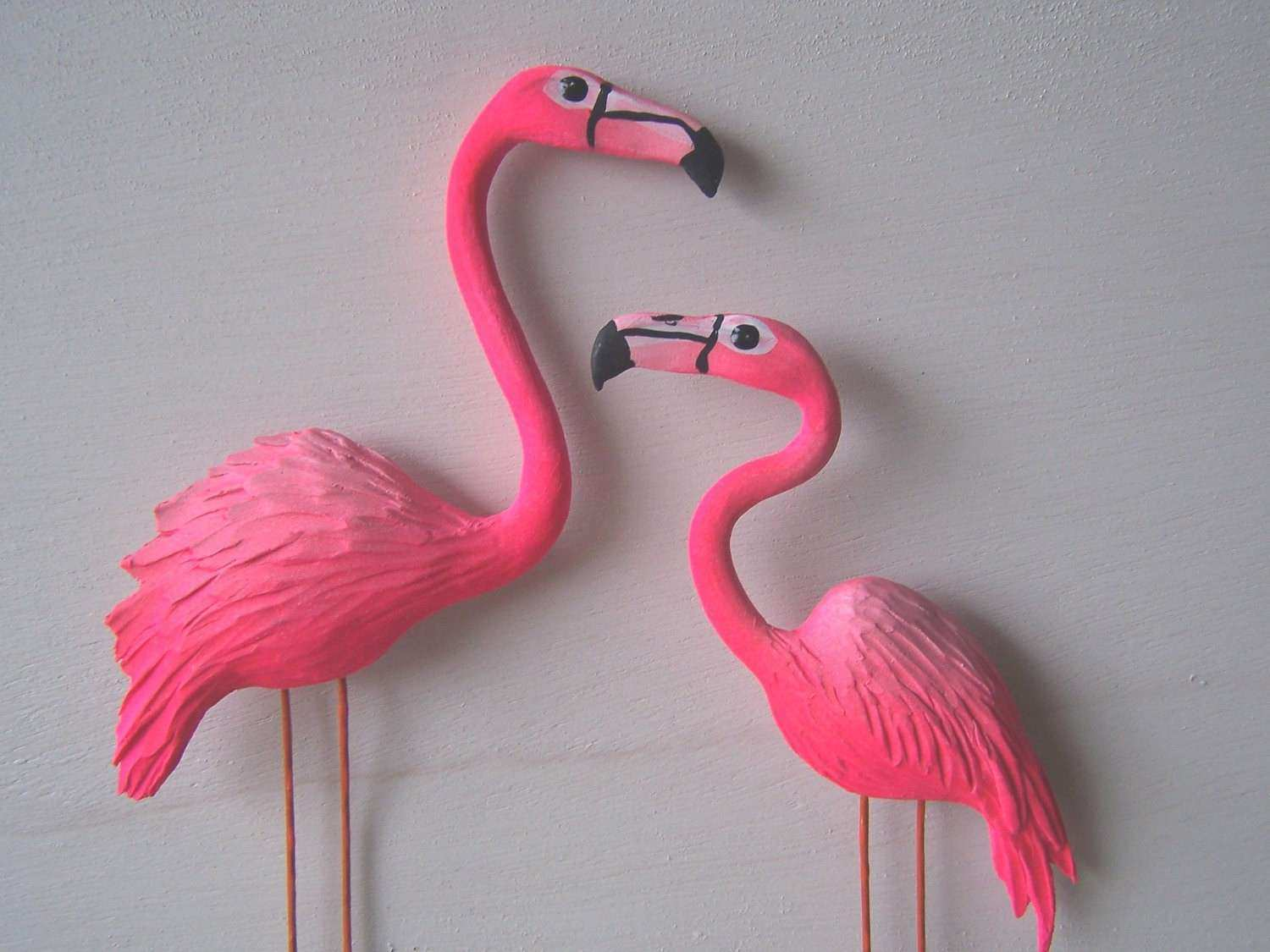 Pink flamingo art sculpture wall decor by artistJP on Etsy