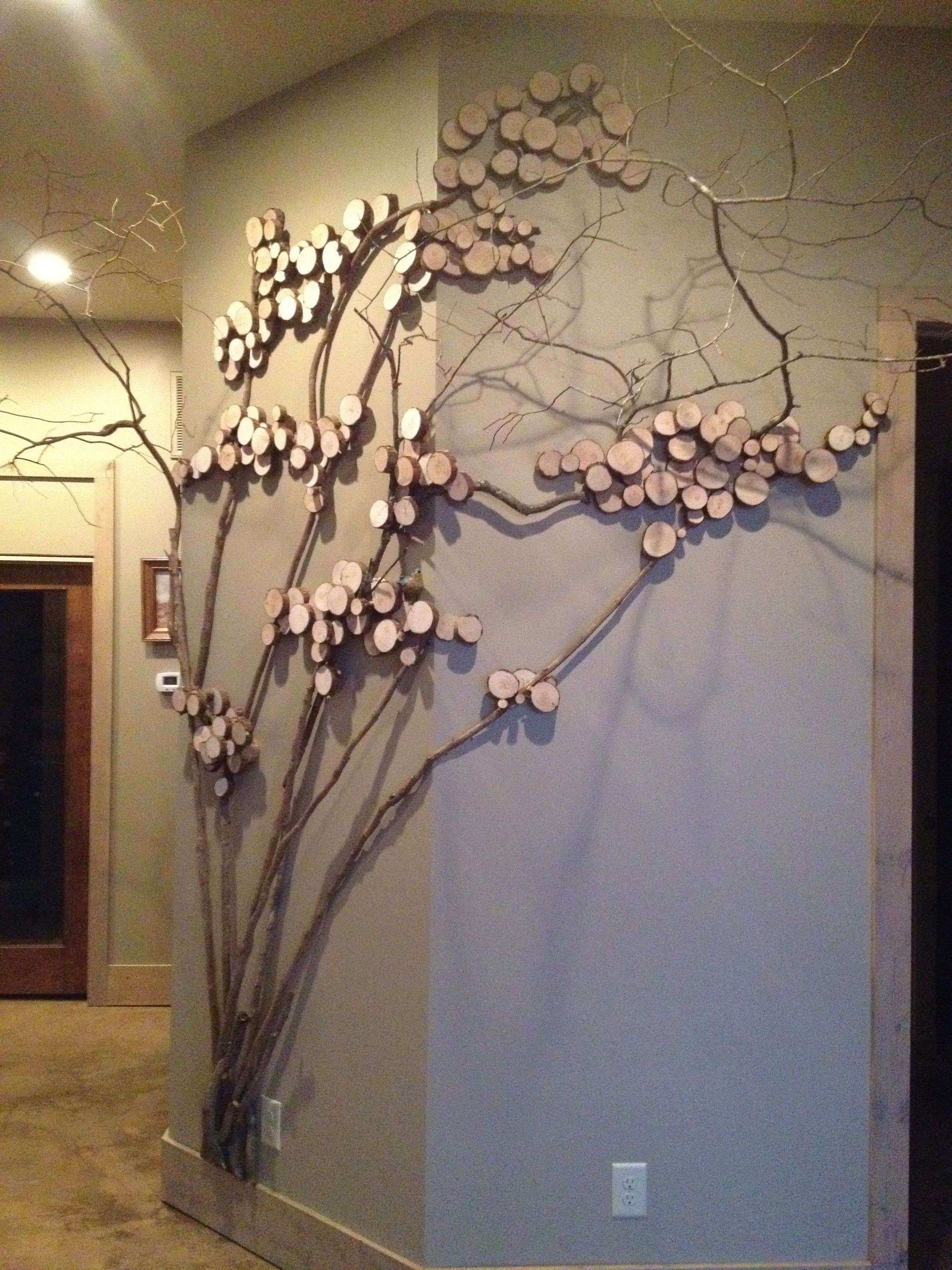 Tree art twig art for wall decor wall art with mountain