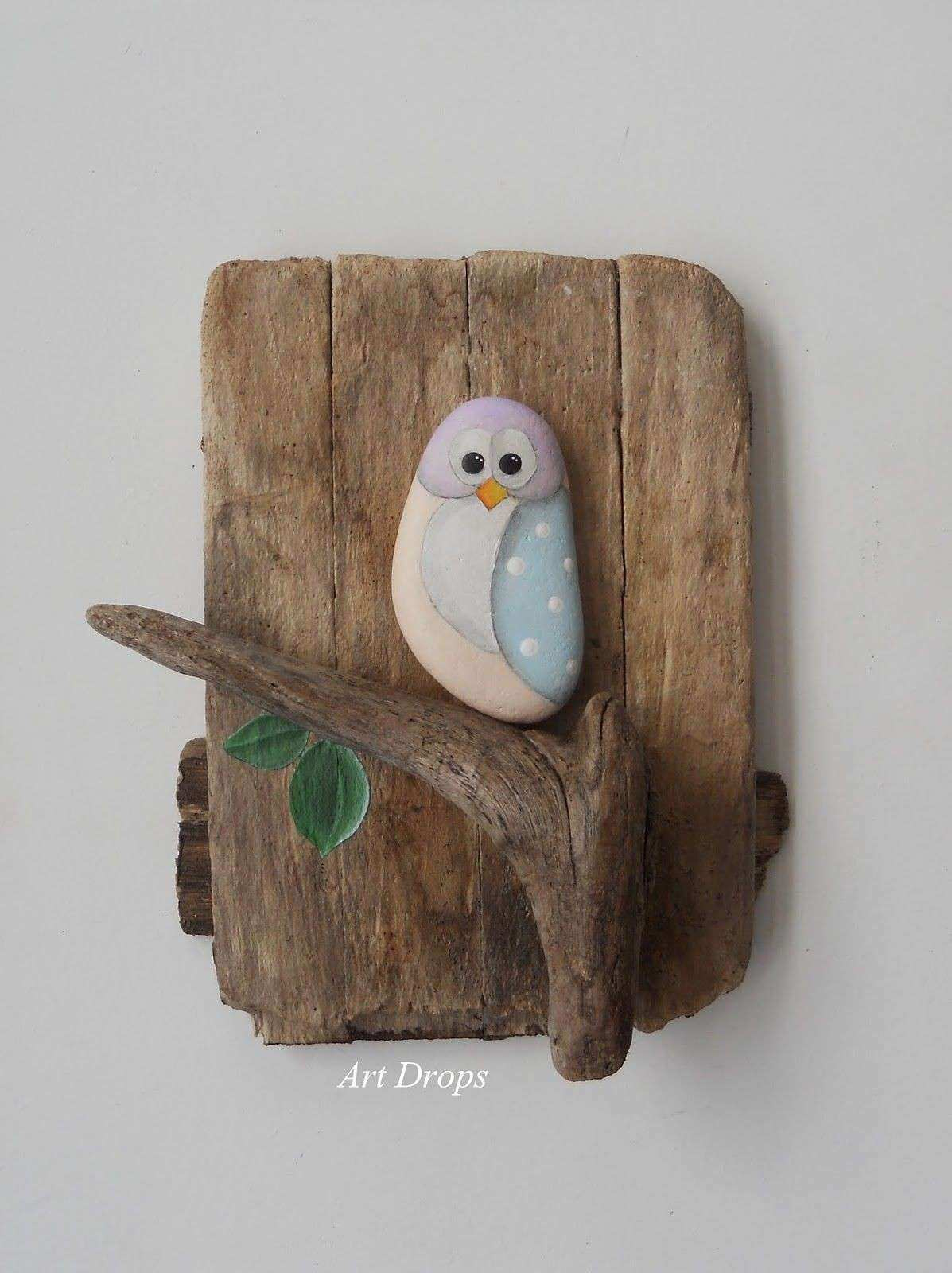 Art Drops Driftwood and a painted stone how easy is