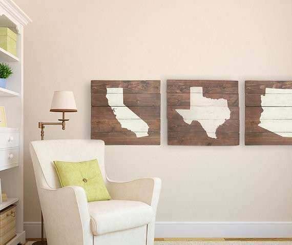 Rustic Planked Wood State Home Decor Wall Art