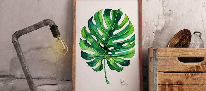Plant Print Wall Art Fresh Watercolor Print Monstera Illustration