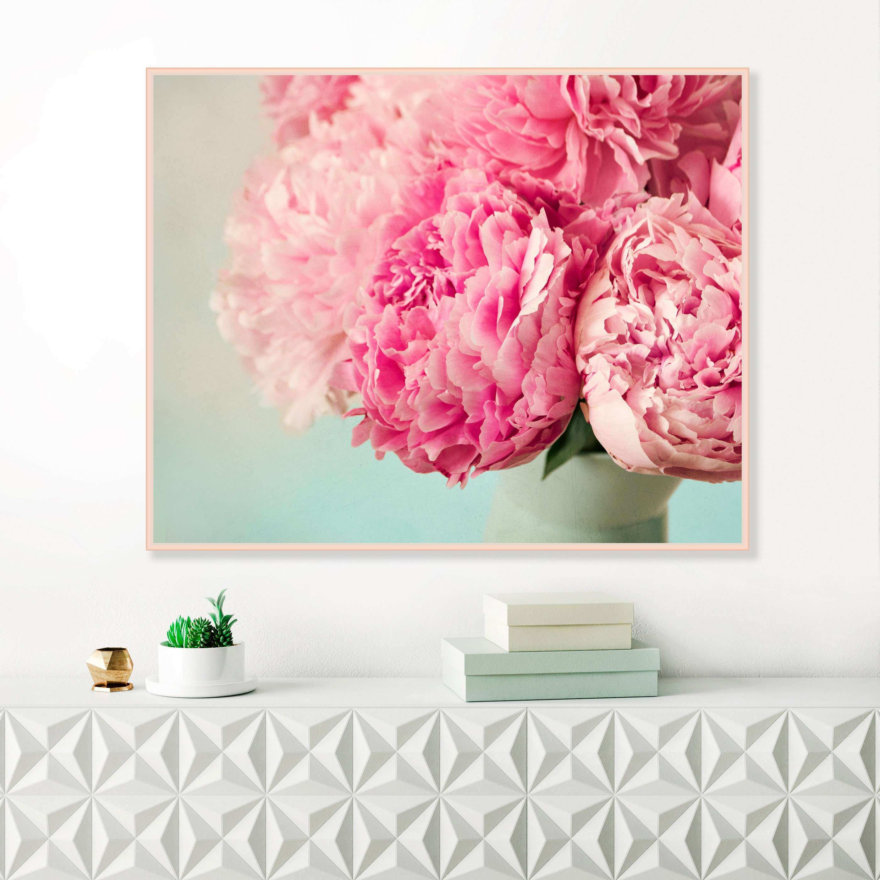 Peony Print Pink Peonies Flower Prints Pink and Pale Mint Wall