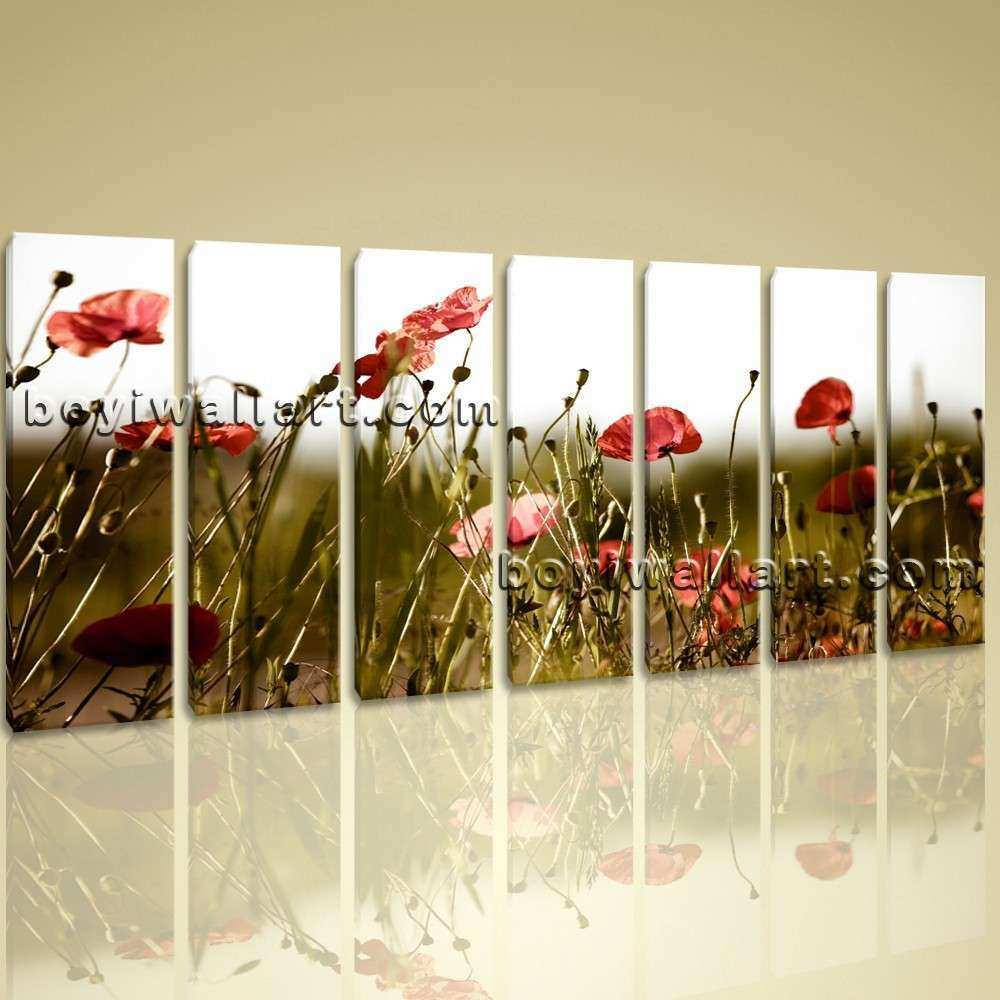 Extra Contemporary Floral Wall Art Poppy Flower