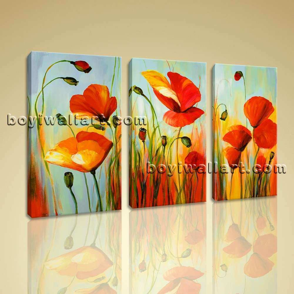Poppy Prints Wall Art Inspirational Stretched Canvas Prints Abstract ...