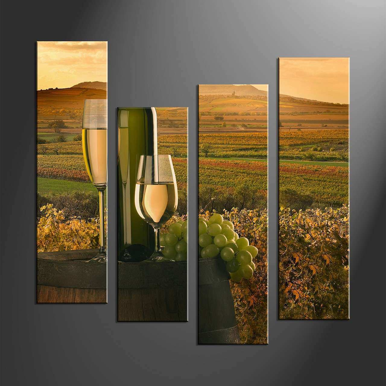 Wall Art Ideas Design Green Field Sky 4 Piece Wall Art