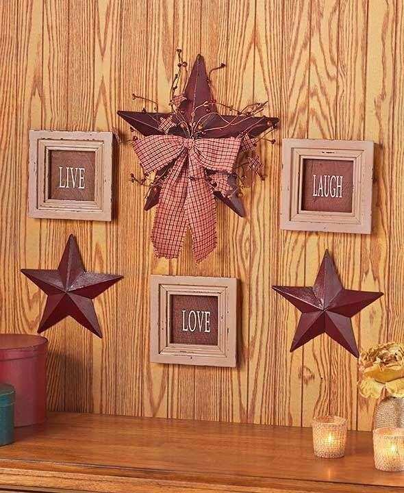 6 Pc Live Love Laugh Framed Signs & Country Stars Rustic