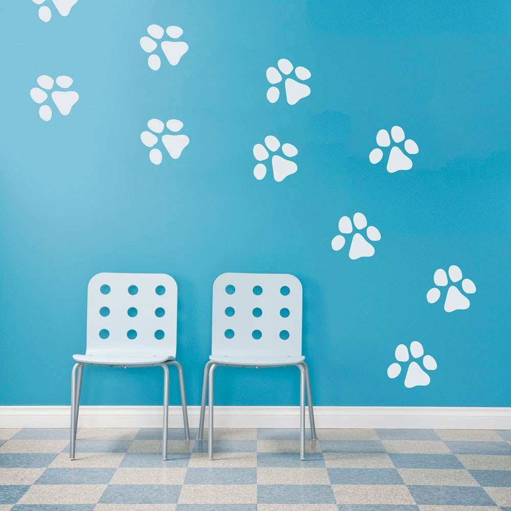 Paw Print Wall Decals home pet dog paw prints wall