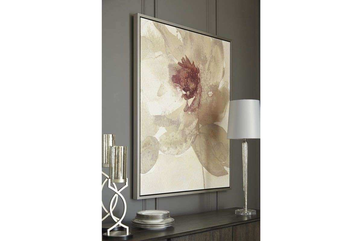 Odam Wall Art in Taupe Gray Purple and White by Ashley