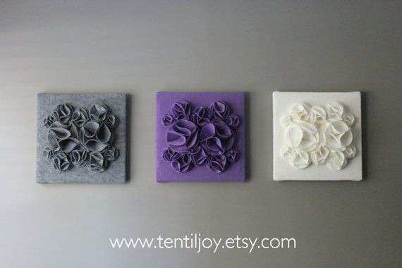 Three Wall Art Canvases Purple Gray and White Nursery