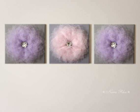 Gray and Purple Nursery Flower Wall Art 12X12 Canvas by