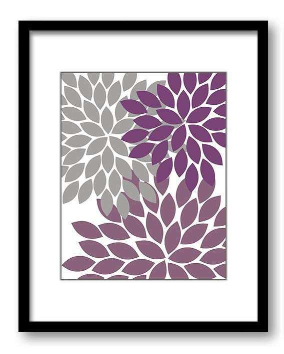 Flower Print Grey Gray Purple Plum Chrysanthemum Flowers Print