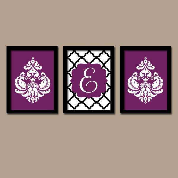 Purple Black Wall Art Monogram Wall Art Bathroom by TRMdesign