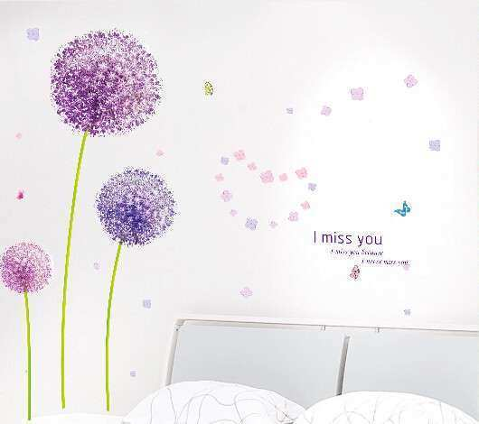 Free shipping purple dandelion bedroom wall sticker