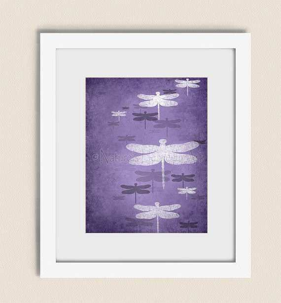 11 x 14 Dragonfly Wall Art Print Dark Purple Girls Room